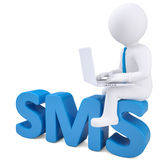 3d white man with a laptop sitting on the word SMS Stock Photo