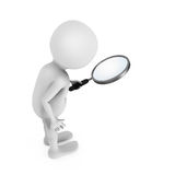 3D white man looking through the magnifying glass. 3D rendering stock illustration