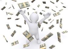 3d white man and money rain. Stock Photos