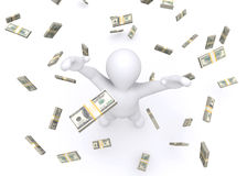 3d white man and money rain. Royalty Free Stock Photography