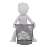 3D white man near garbage basket. Faceless cartoon character trying to move empty recycle bin, 3D render isolated on white Royalty Free Stock Photography