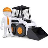 3d white man near the truck. Isolated render on a white background royalty free illustration