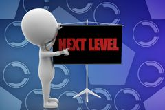 3d white man next level illustration Stock Photography