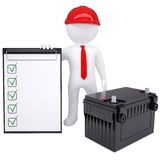 3d white man next to the car battery Royalty Free Stock Photos