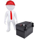 3d white man next to the car battery Stock Image