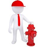 3d white man next to a fire hydrant. Render on a white background Royalty Free Stock Photo