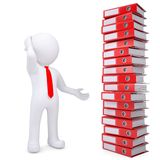 3d white man next to stack of office folders. 3d white man next to a stack of office folders. Isolated render on a white background Royalty Free Stock Images