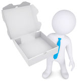 3d white man with an open box of a pizza. Isolated render on a white background Stock Photography