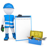 3d white man in overalls with checklists and tools stock illustration