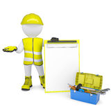 3d white man in overalls with checklists and tools Stock Photography
