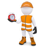 3d white man in overalls holding a alarm clock. Isolated render on a white background Royalty Free Stock Photos