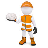 3d white man in overalls holding a brain Royalty Free Stock Photos