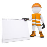 3d white man in overalls holding a calendar. Render on a white background Royalty Free Stock Image