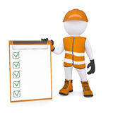 3d white man in overalls holding a checklist. Render on a white background Stock Photo