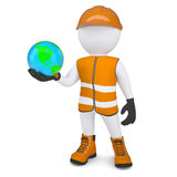 3d white man in overalls holding the Earth. Render on a white background Royalty Free Stock Photos
