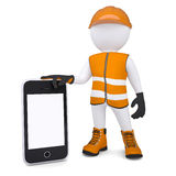 3d white man in overalls holding a smartphone. Render on a white background Royalty Free Stock Images