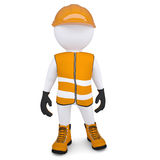 3d white man in overalls. Isolated render on a white background Stock Photo