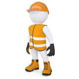 3d white man in overalls. Isolated render on a white background Royalty Free Stock Images