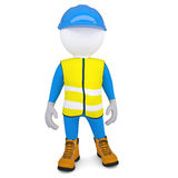 3d white man in overalls. Isolated render on a white background Stock Photography