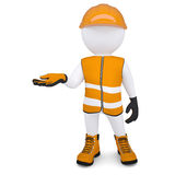 3d white man in overalls picked up an empty hand. Render on a white background Royalty Free Stock Images