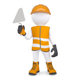 3d white man in overalls with a trowel. Isolated render on a white background Royalty Free Stock Photos
