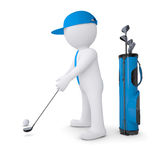 3d white man playing golf. Render on a white background Stock Photo