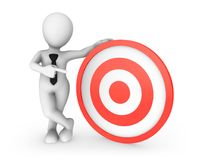 3d white man pointing finger at red target. 3d rendered illustration Royalty Free Stock Photo