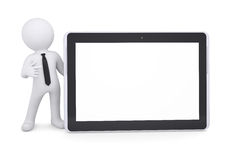 3d white man points a finger at a tablet PC. Isolated render on a white background Royalty Free Stock Image