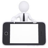 3d white man points a finger to smartphone Royalty Free Stock Images