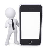 3d white man points a finger to smartphone Royalty Free Stock Photos