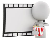 3d white man with popcorn and film reel. 3d illustration. White man with popcorn and film reel. cinematography concept Stock Photos