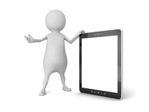 3d white man with portable tablet PC Royalty Free Stock Images