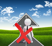 3d white man with prohibition sign. Road climbs up. Field of grass and sky as background Royalty Free Stock Photo