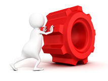 3d white man pushes red gear on white background Stock Images
