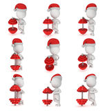 3d white man in santa claus cap stand near red dumbbell. Royalty Free Stock Images