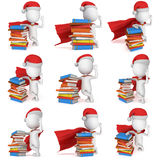 3d white man santa superhero set. 3d white man brave superhero set with red cloak and santa claus cap stand near pile of books. 3D render illustration collection Royalty Free Stock Photography