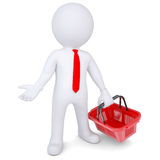 3d white man with a shopping basket. Isolated render on a white background Stock Images