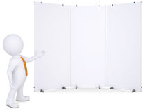 3d man shows up on white poster. 3d white man shows up on white poster. Isolated render on a white background Royalty Free Stock Photography