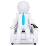 3d white man sitting in chair with remote control Royalty Free Stock Photos