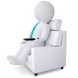 3d white man sitting in chair with remote control Stock Images