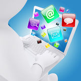 3d white man sitting with a laptop Royalty Free Stock Photography