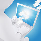 3d white man sitting with a laptop Royalty Free Stock Image