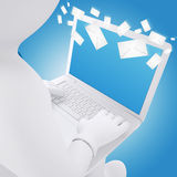 3d white man sitting with a laptop. Envelopes flying around a laptop. E-mail concept Royalty Free Stock Photo