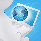3d white man sitting with a laptop Royalty Free Stock Photos