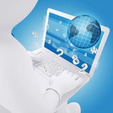 3d white man sitting with a laptop. Globe and numbers fly out of the screen. The concept of Computer Technology Stock Photography