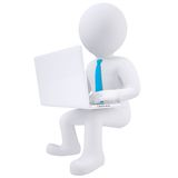 3d white man sitting with a laptop. Isolated render on a white background Stock Images