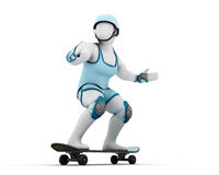 3D white man on a skateboard in riot gear Stock Images