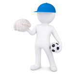 3d white man with soccer ball and the brain. Render on a white background Stock Photos