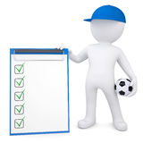 3d white man with soccer ball and checklist Stock Images