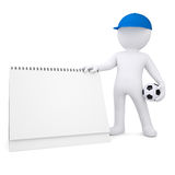 3d white man with soccer ball and desktop calendar Royalty Free Stock Photos